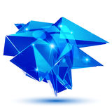 Sapphire textured plastic deformed flash model. 3d pixilated figure created from geometric elements Royalty Free Stock Photography