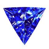 Sapphire Triangle Cut Over White bakgrund Royaltyfria Foton