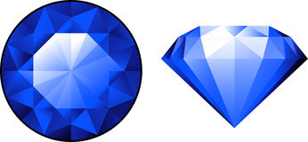 Sapphire from two perspectives over white Royalty Free Stock Photography