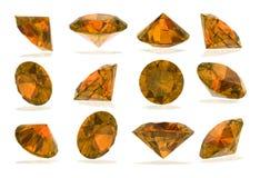 Sapphire yellow Diamonds set on White Stock Photo