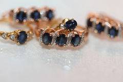 Sapphires and reflection. Indistinct image of sapphires and their reflection Stock Photography