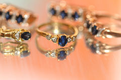 Sapphires and reflection. Ndistinct image of sapphires and their reflection Royalty Free Stock Image