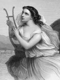 Sappho. (630/612-570 BC) on engraving from 1858. Ancient Greek lyric poet. Engraved by F.Holl  and published in World Noted Women'',USA,1858 Royalty Free Stock Image
