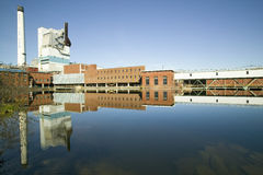 Sappi罚款纸北美是上漆的woodfree纸的主导的生产商在U的 S 萨默塞特厂在Skowhegan,我 免版税图库摄影