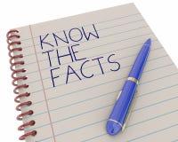 Sappia che le informazioni della ricerca di fatti imparano la penna Immagini Stock Libere da Diritti