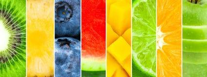 Sappig en vers fruit Gemengd van watermeloen, ananas, kiwi, bosbes, mango, kalk, sinaasappel, appel vector illustratie