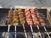 Sappig gemarineerd in de kebab van het kruidenvlees op vleespennen, gekookt en gebraden op een brand en een houtskool roostert gr royalty-vrije stock foto's