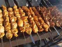 Sappig gemarineerd in de kebab van het kruidenvlees op vleespennen, gekookt en gebraden op een brand en een houtskool roostert gr royalty-vrije stock fotografie