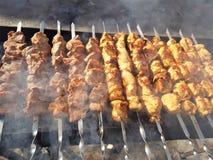 Sappig gemarineerd in de kebab van het kruidenvlees op vleespennen, gekookt en gebraden op een brand en een houtskool roostert gr stock afbeelding