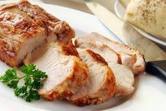Sappig heet varkensvleeslendestuk Stock Foto