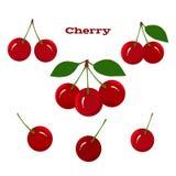 Sappig Rijp Cherry Fruits op een Witte Achtergrond Stock Foto's
