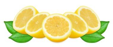 Sappige gele citroenen op een witte geïsoleerde achtergrond Royalty-vrije Stock Foto