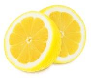 Sappige gele citroenen op een witte geïsoleerde achtergrond Royalty-vrije Stock Foto's