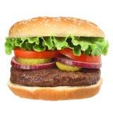 Sappige hamburger met het bevestigen Stock Afbeeldingen