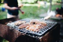 Sappige kebab Het geroosterde kebab koken Straatvoedsel royalty-vrije stock fotografie