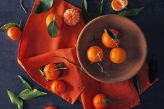 Sappige mandarijnen in kom royalty-vrije stock foto's