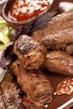 Sappige plakken van vlees Stock Foto's
