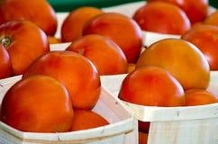 Sappige rode tomaten voor verkoop royalty-vrije stock fotografie