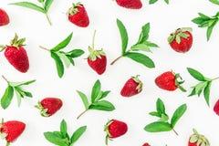 Sappige verse aardbeien op witte achtergrond Vlak leg Hoogste mening Royalty-vrije Stock Afbeelding