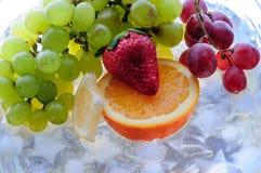 Sappige vruchten op ijs stock fotografie