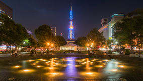 Sappora tower and garden at night in summer Stock Photography