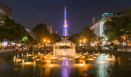 Sappora tower and garden at night in summer Royalty Free Stock Image