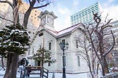 Sapporo, Ιαπωνία, στις 2 Ιανουαρίου 2018: Ο πύργος ρολογιών Sapporo είναι ένας ξύλινος Στοκ εικόνες με δικαίωμα ελεύθερης χρήσης
