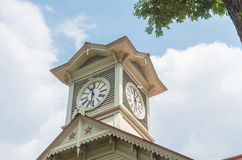 Sapporo city clock tower and blue sky in summer Stock Image