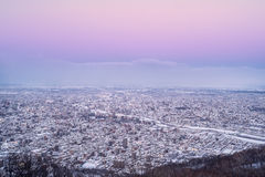 Sapporo city in the evening. From mt. Moiwa, winter season, Japan royalty free stock image