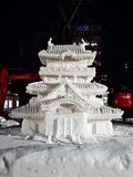Snow Festival in Sapporo, Snow Castle royalty free stock photography