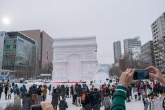Sapporo, Giappone - febbraio 2017: Il sessantottesimo festival di neve di Sapporo al parco di Odori Immagine Stock Libera da Diritti