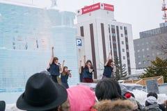 Sapporo, Giappone - febbraio 2017: Il sessantottesimo festival di neve di Sapporo al parco di Odori Immagini Stock Libere da Diritti