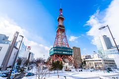 Sapporo Hokkaido, Ιαπωνία - 2 Φεβρουαρίου 2019 όμορφη οικοδόμηση αρχιτεκτονικής της TV Sapporo στην πόλη Hokkaido Ιαπωνία Sapporo στοκ φωτογραφίες με δικαίωμα ελεύθερης χρήσης