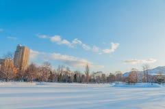 Sapporo i vintersäsong Arkivbild