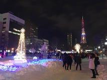 SAPPORO, JAPÓN - 17 DE DICIEMBRE DE 2016: La Navidad celebra en el parque de Odori Imagen de archivo