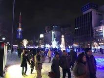 SAPPORO, JAPAN - 17 DEC, 2016: Kerstmis viert bij Odori-park Royalty-vrije Stock Afbeelding
