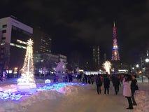 SAPPORO, JAPAN - 17 DEC, 2016: Kerstmis viert bij Odori-park Stock Foto's