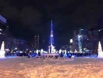 SAPPORO, JAPAN - 17 DEC, 2016: Kerstmis viert bij Odori-park Royalty-vrije Stock Afbeeldingen