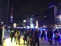 SAPPORO, JAPAN - 17 DEC, 2016: Kerstmis viert bij Odori-park Royalty-vrije Stock Foto