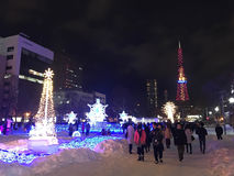 SAPPORO, JAPAN - 17 DEC, 2016: Kerstmis viert bij Odori-park Stock Fotografie