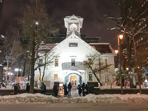 SAPPORO, JAPAN - DEC 17, 2016: A symbolic clock tower in Sapporo Royalty Free Stock Photo