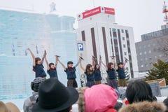 Sapporo Japan - Februari 2017: Den 68th festivalen för Sapporo snö på Odori parkerar Royaltyfri Foto
