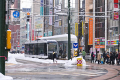 SAPPORO, JAPAN - JAN 13, 2017: Tram in Sapporo downtown Royalty Free Stock Photography