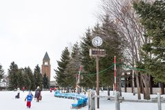 Sapporo, Japan, January 28, 2018: Takino  Suzuran Hillside Park. Offers family fun activities during winter such as snow boarding, ski on gentle slope, lessons Stock Images