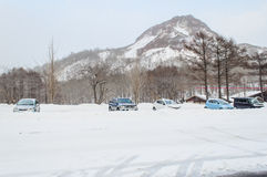 Sapporo, Japan - March 08, 2014: The cars in the parking area af Stock Photos