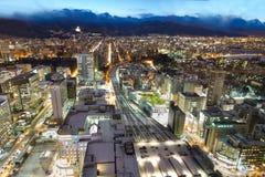 Sapporo, Japonia, Styczeń 28, 2018: Półmrok godziny widok z lotu ptaka centr fotografia stock