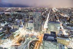 Sapporo, Japonia, Styczeń 28, 2018: Półmrok godziny widok z lotu ptaka centr obrazy stock