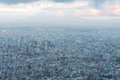 Sapporo miasta linia horyzontu widok od g?ry Moiwa obrazy stock