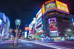 Sapporo Night Life District Stock Images