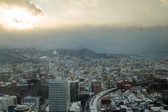 Sapporo pejzażu miejskiego miastowy krajobraz zdjęcie royalty free